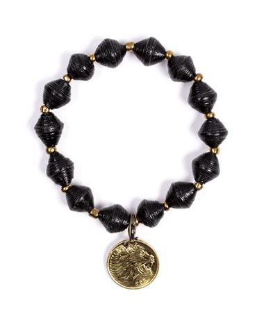 Adera Paper Bead Bracelet With Coin - Black Black