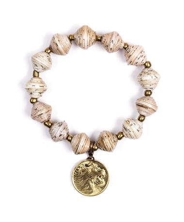 Adera Paper Bead Bracelet With Coin - Cream Cream