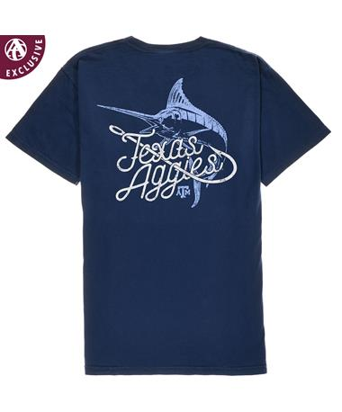 Texas A&M Aggies Hooked Fish T-Shirt - Back True Navy