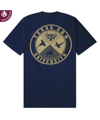Texas A&M Aggies Cross Hunting T-Shirt - Back True Navy