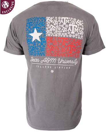 Texas ATM State Flag S/S TShirt-back Grey