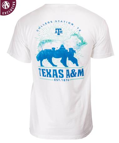 Texas A&M Aggies Skyline Reveille T-Shirt Back White