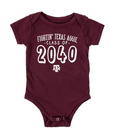 Texas A&M Aggie Class Of 2040 Onesie Maroon
