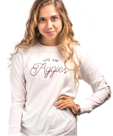 League Ladies Camp Long Sleeve Tee - Front White