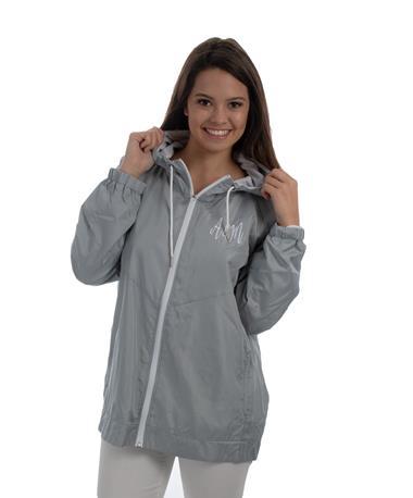 Texas A&M Full Zip Hooded Rain Jacket - Stone - Front Grey