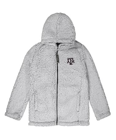 Texas A&M Youth Full Zip Sherpa - Front PUTTY