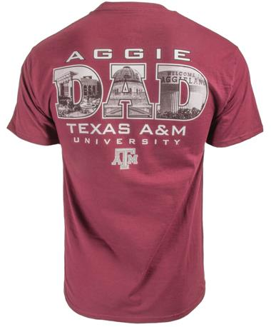 Texas A&M Dad Landmark Photos T-Shirt Maroon