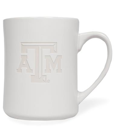 Texas A&M Etched White Mug WHITE