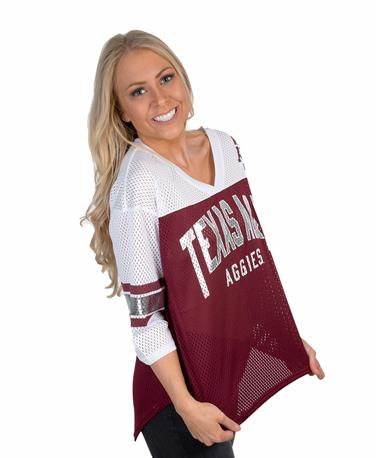 Texas A&M Aggies Women`s Metallic Jersey - Angle Maroon