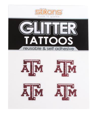 Texas A&M Glitter Tattoos Maroon