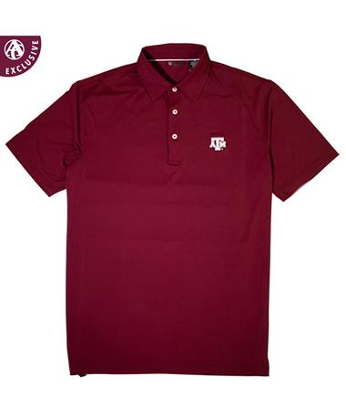 Texas A&M Short Sleeve EcoTec Solid Polo - Front MELOT