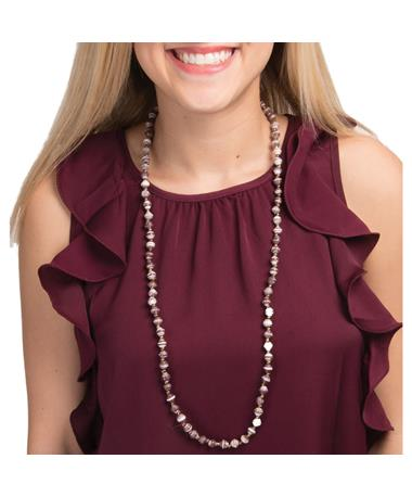 Adera Mini Bead Necklace Maroon/White