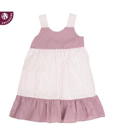 Made in College Station Gingham Stripe Dress White/Maroon