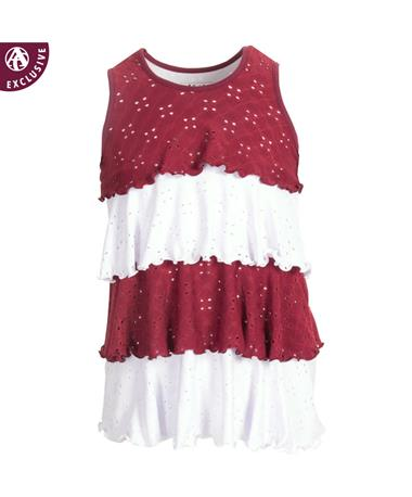 Made in College Station Ruffle Layer Dress Maroon/White