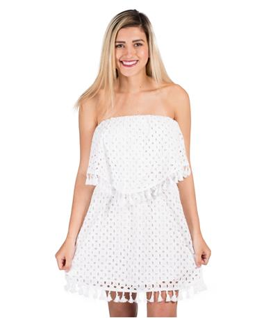 BB Dakota Jack Leighton White Eyelet Dress Front White