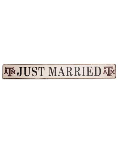 Texas A&M Just Married Rustic Barn Board White