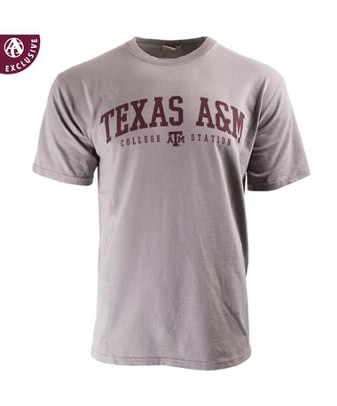 Texas A&M Aggie Basic Block T-Shirt - Grey - Front Grey