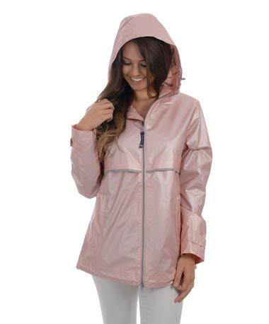 Charles River Women`s New Englander Rain Jacket - Pink/Reflective - Haley - Front Pink/Reflective