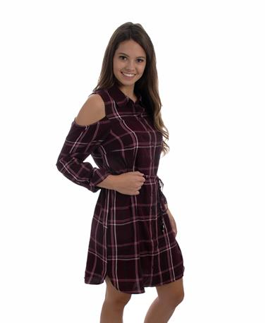 Jaspen Plaid Burgundy Dress-side Plaid Burgundy