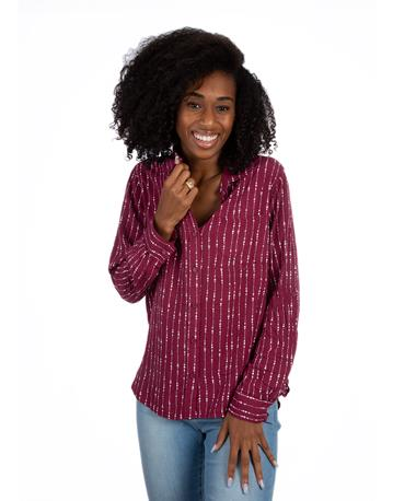 Maroon Elisa Button Up Top Pinot Noir