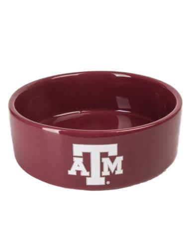 Texas A&M Small Ceramic Pet Bowl Maroon