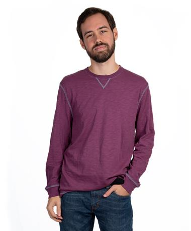 Heritage Slub Long Sleeve Crew - Front Bordeaux