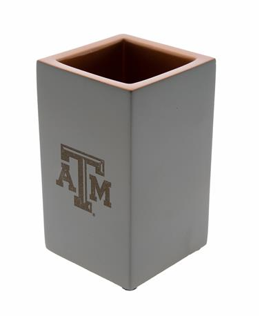 Texas A&M Concrete Pencil Holder - Angled Concrete/Copper