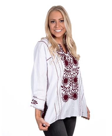 Nativa Embroidered Rosa Blouse - Angle White/Maroon