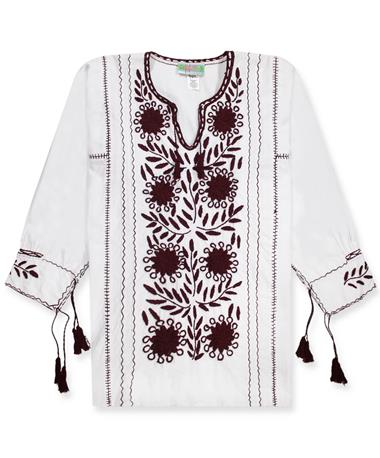 Nativa Maroon Embroidered Rosa Blouse - Front White/Maroon