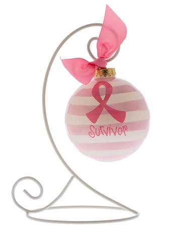 Breast Cancer Survivor Glass Ornament Pink