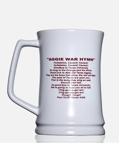 Texas A&M War Hymn Fight Song Stein Lyrics White