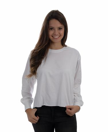 L/S Cropped Tee-front White