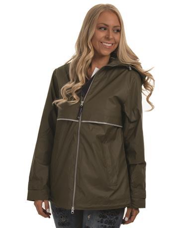 Charles River Women`s New Englander Rain Jacket - Olive - Front Olive