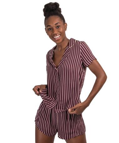 Hollie Stripe Sleep Set Side Currant