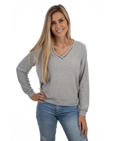 Soft Spun Knit Cross Front Pullover-front Heather Grey