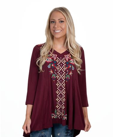 Caite Womens Embroidered Top-front Merlot