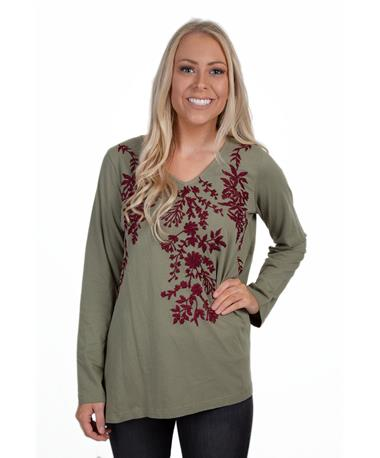 Caite Womens Embroidered Top-front Forest Green