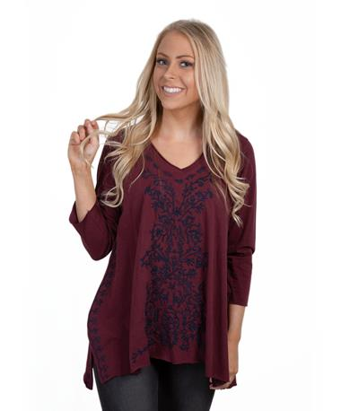Caite Women`s Embroidered Top - Front Merlot