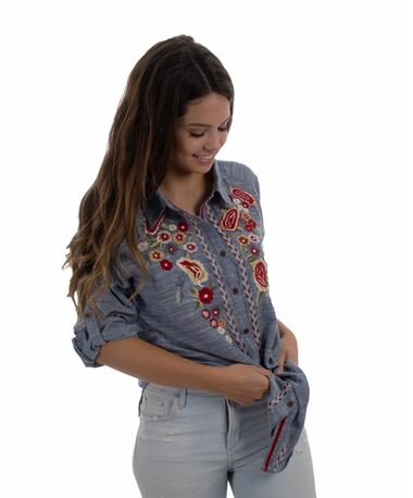 Caite Women`s Embroidered Top - Front Blue