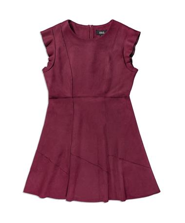 Maroon Velvet Women`s Short Sleeve Dress - Front Merlot