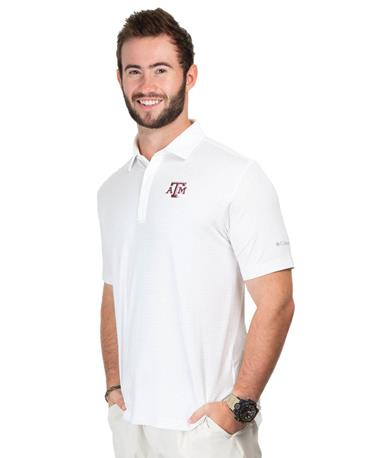 Columbia Texas A&M Men`s Fairway Polo - Angle White Cap