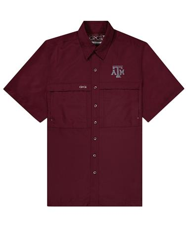 GameGuard Texas A&M Men`s MicroFiber Shirt - Maroon - Front Maroon