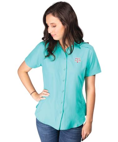 Texas A&M Womens Gameguard Micro Fiber Shirt-front Caribbean