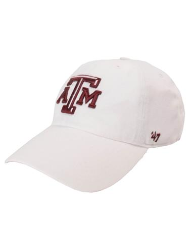 `47 Brand Texas A&M Beveled Clean Up Cap - White - Front White