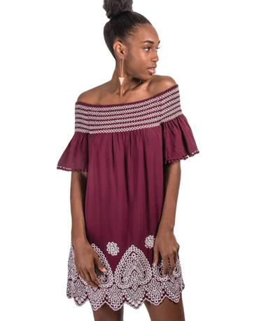 Smocking Dress Maroon/White