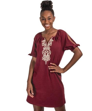 Gold Embroidered Maroon Dress - Front Maroon/Gold