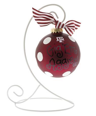 Texas A&M Glitter Dot Glass Ornament - Stand Maroon
