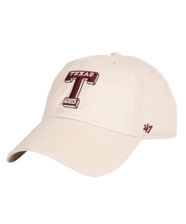 Texas A&M `47 Brand Vault T Clean Up Cap - Natural - Front Natural