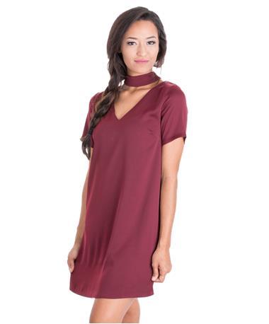 Maroon Choker V Neck Short Sleeve Dress Angle Wine