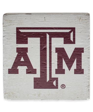 Texas A&M Square Rustic Wooden Block - White - Front White
